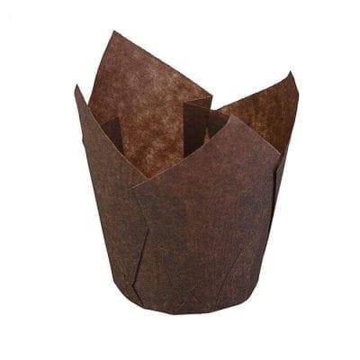 Формы для капкейков тюльпан коричневые 10 шт