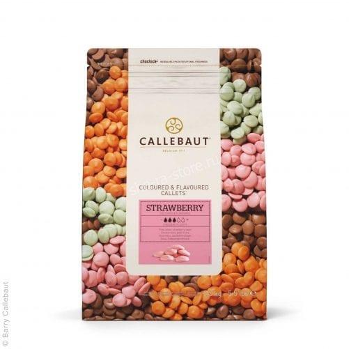 Белый шоколад со вкусом и цветом клубники Callebaut, Бельгия