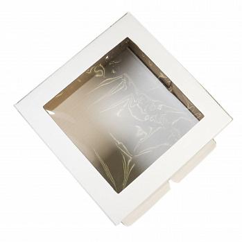 Коробка для торта с окном 21/21/10 см, белая