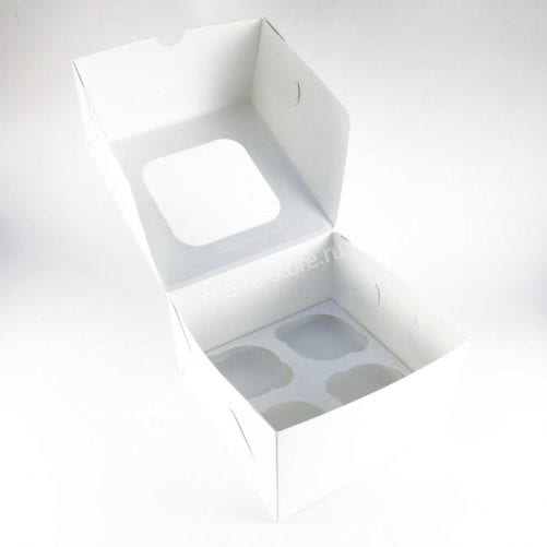 Коробка для капкейков под 4 шт с окном