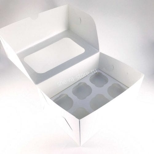 Коробка для капкейков под 6 шт с окном