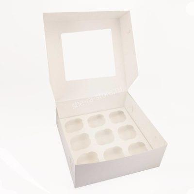 Коробка для капкейков под 9 шт c окном