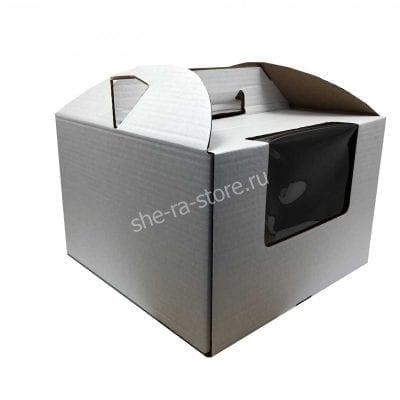 Коробка для торта с окном и ручкой 30/30/22 см