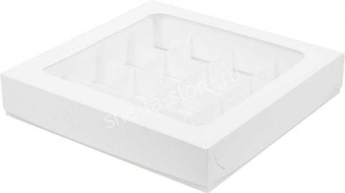коробка на 16 конфет белая