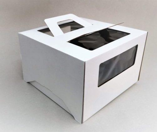 Коробка для торта 28/28/20 с окном и  ручкой