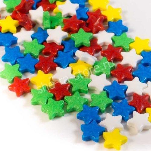 """Посыпка микс """"Звёзды"""" белые, желтые, зеленые, красные"""