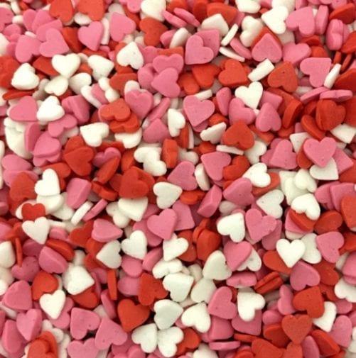 """Посыпка кондитерская """"Сердца микс"""" розовые, красные, белые 100 г"""