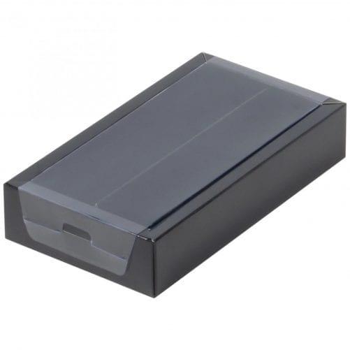 робка на 8 конфет чёрная с пластиковой крышкой