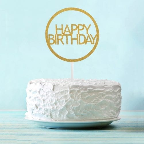"Топпер для торта, золотой круг ""Happy Birthday"""
