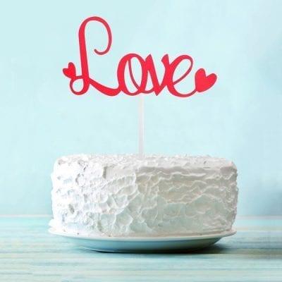 Топпер для торта красный Love