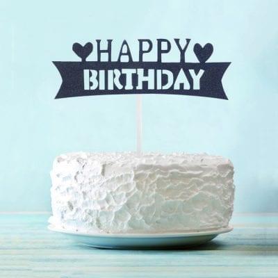 Топпер для торта чёрный Happy Birthday