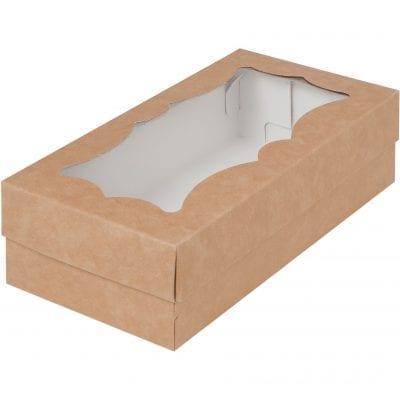 Белая коробка для макарон и др. кондитерской продукции с прямоугольным окошком 210*110*55 мм