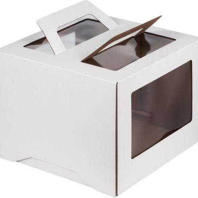 Коробка для торта с ручкой и окошком, 280*280*200 мм