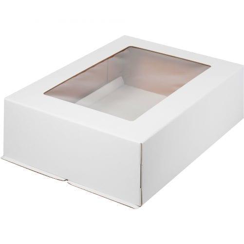 Коробка для торта с окном 300*400*120 мм (белая) гофрокартон