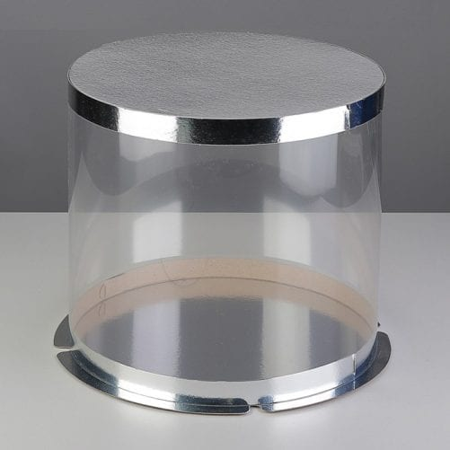 Коробка для торта цилиндр серебряный, D 20