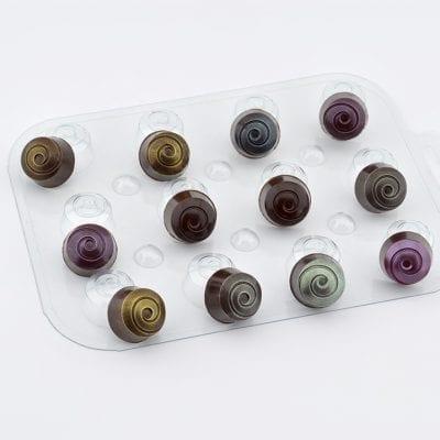 Форма для шоколада конфеты круглые завитушки