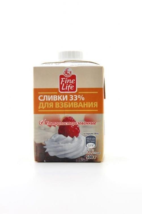 Сливки Fine Life для взбивания 33%, 500г