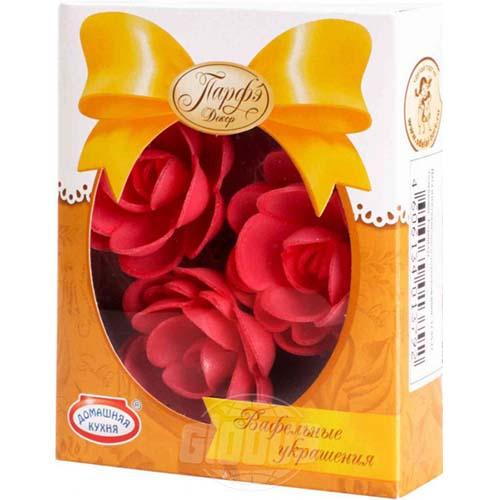Вафельные цветы красные с посыпкой, Парфэ