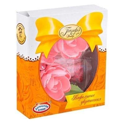 Вафельные цветы розовые с посыпкой, Парфэ