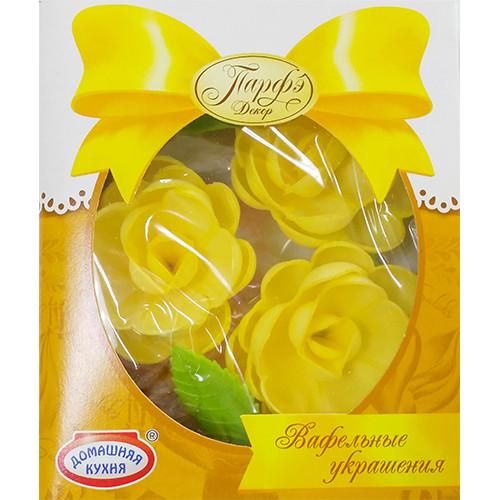 Вафельные цветы желтые с посыпкой, Парфэ