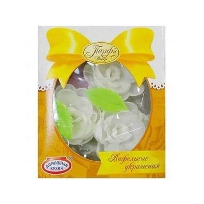 Вафельные цветы белые с посыпкой, Парфэ