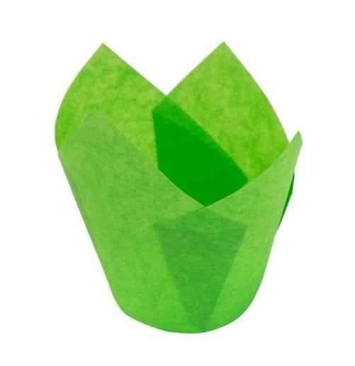 Формы для капкейков тюльпан зеленые 10 шт