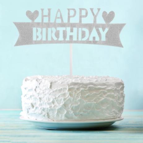 Топпер для торта серебряный Happy Birthday, с сердцами