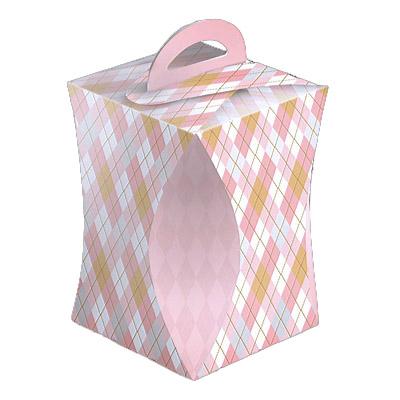 Коробка для кулича с ручкой, Ромбики
