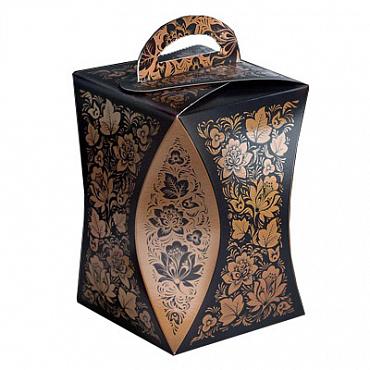 Коробка для кулича с ручкой, Черная хохлома