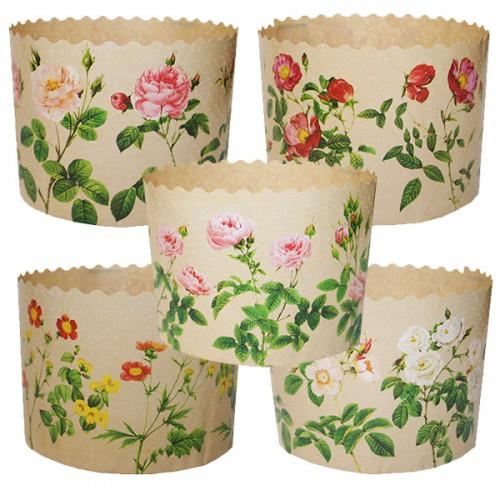 Форма для кулича бумажная Розы, Ø 7 см