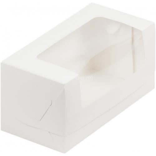 Коробка для кекса белая с окном 200*100*100 мм