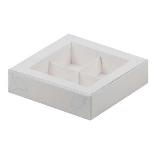 Коробка под 4 конфеты с пластиковой крышкой белая 120*120*30 мм