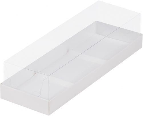 Коробка под муссовые пирожные с пластиковой крышкой белая 290*95*80 мм