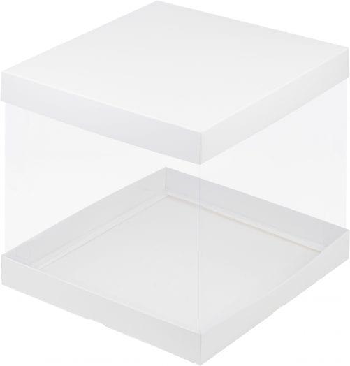 Коробка под торт с прозрачными стенками белая 300*300*280 мм