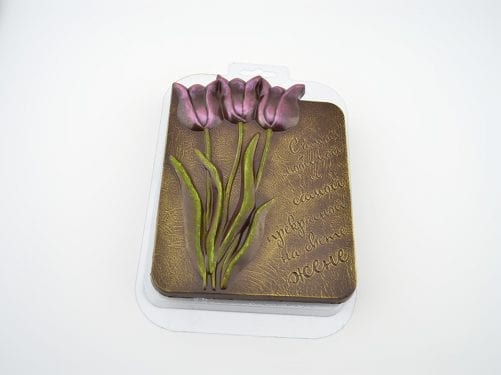 "Форма для шоколада плитка ""Тюльпаны жене"""