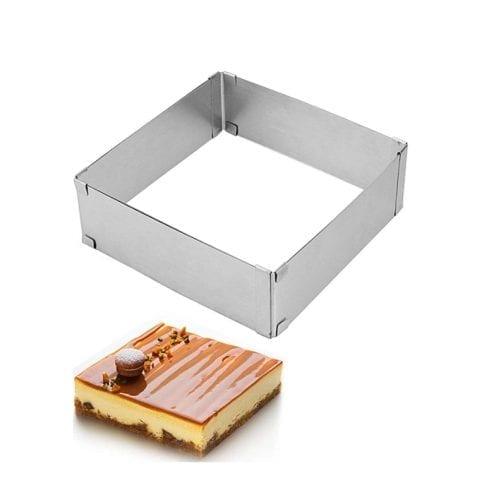 Раздвижная форма для выпечки квадратная 10-18 см, высота 5 см