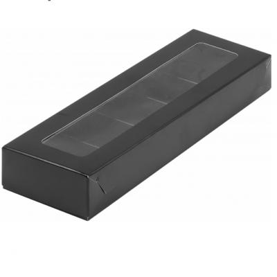 Черная коробка для конфет с пластиковой крышкой 235*70*30 мм